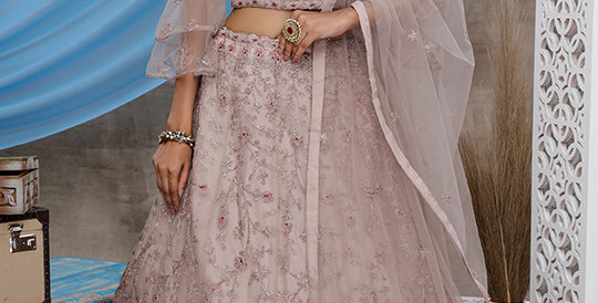 Pretty Heavy Embriodery  Pale Grey Colored  Designer Lehenga Choli Set