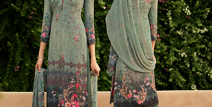 Pretty Causal Wear Mint Green Color Straight  Salwar Suit  Dress Material