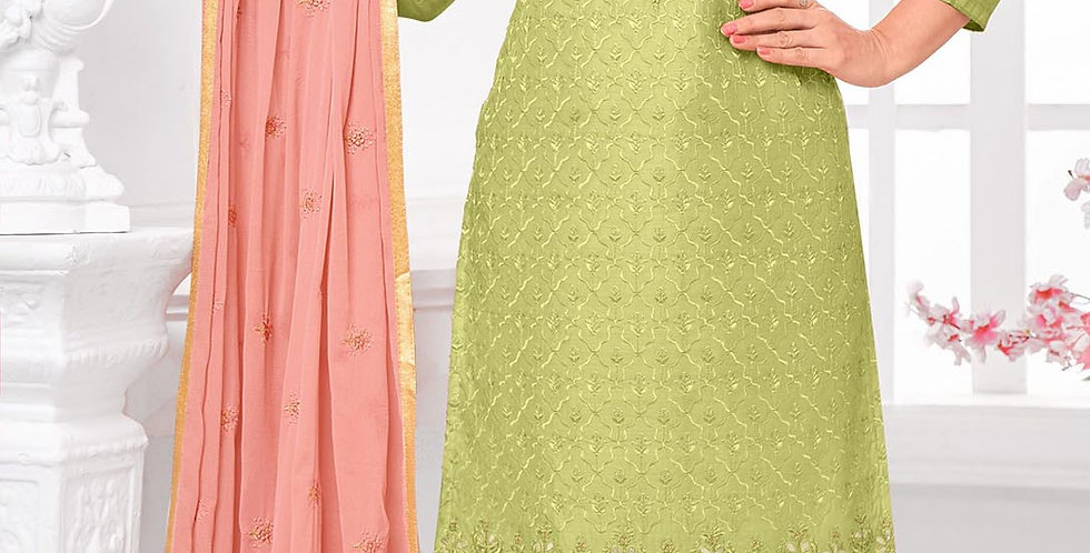 Here Is A Pretty Designer  Light Green Color Straight Salwar Suit