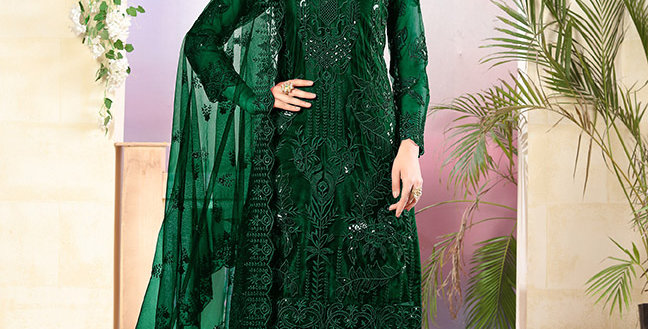 Grab This Very Pretty Designer Dark Green Color Straight  Salwar Suit