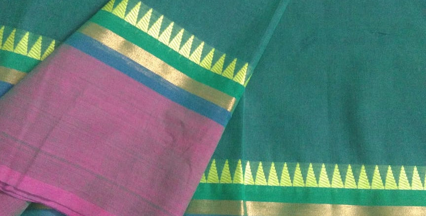 Traditional Cotton Sarees for Pongal Festive Green Color