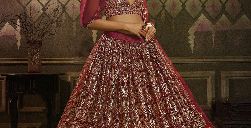Pretty Heavy Embriodery Dark Pink Colored  Designer Lehenga Choli Set