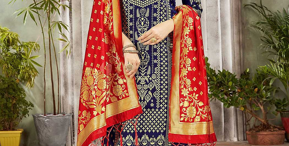 Festive Season Wearing this Designer Navy Blue and Red Color Straight Suit