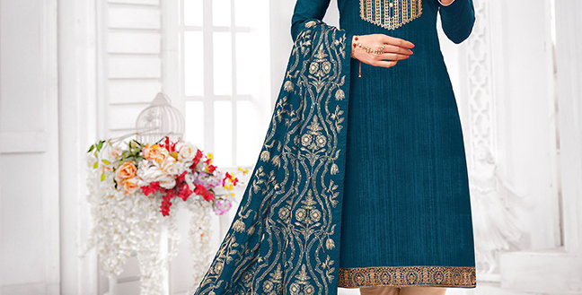 Here Is A Pretty Designer  Blue Color Straight Salwar Suit