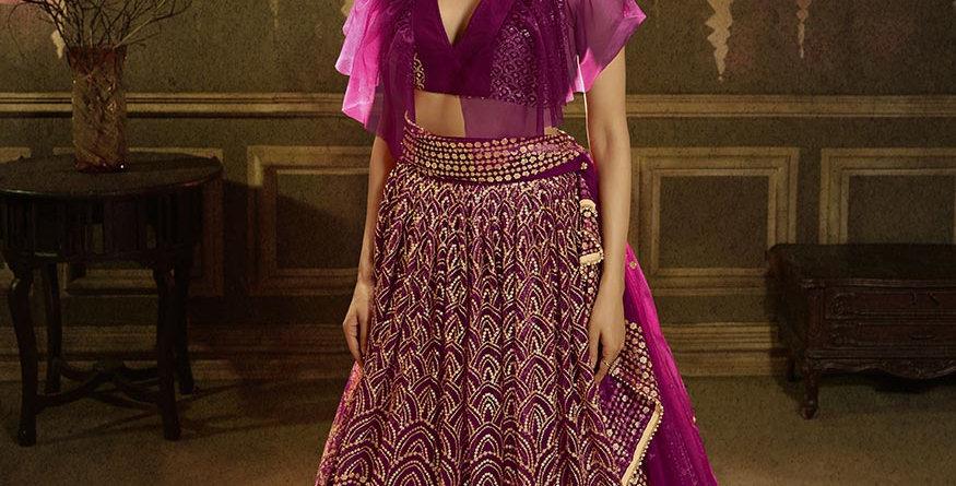 Pretty Heavy Embriodery Rani Pink Colored  Designer Lehenga Choli Set
