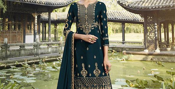 Pretty Designer Teal Blue Color Straight Salwar Suit