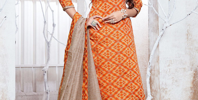 Hera is A  Pretty Designer Orange and Beige  Color  Straight Salwar Suit