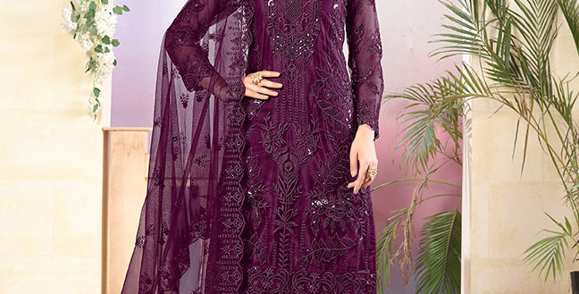 Grab This Very Pretty Designer Purple Color Straight Salwar Suit