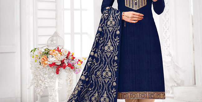 Here Is A Pretty Designer  Navy Blue Color Straight Salwar Suit