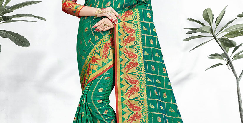 Uniqe Style Pretty Designer Teal Green Colored Heavy�Weaved Saree with Blouse