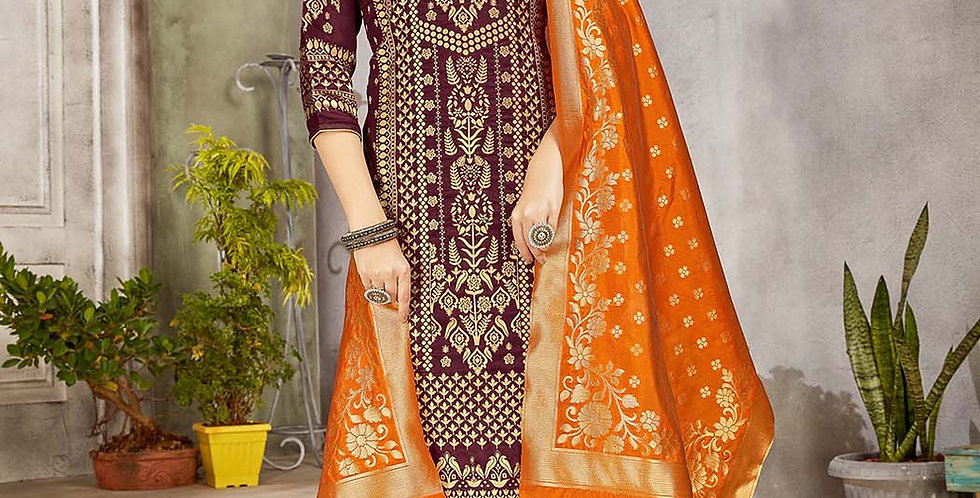 Festive Season Wearing this Designer Wine and Orange  Color Straight Suit