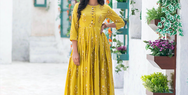 Partywear Designer Digital Printed Lemon Yellow Pure Maslin Gown