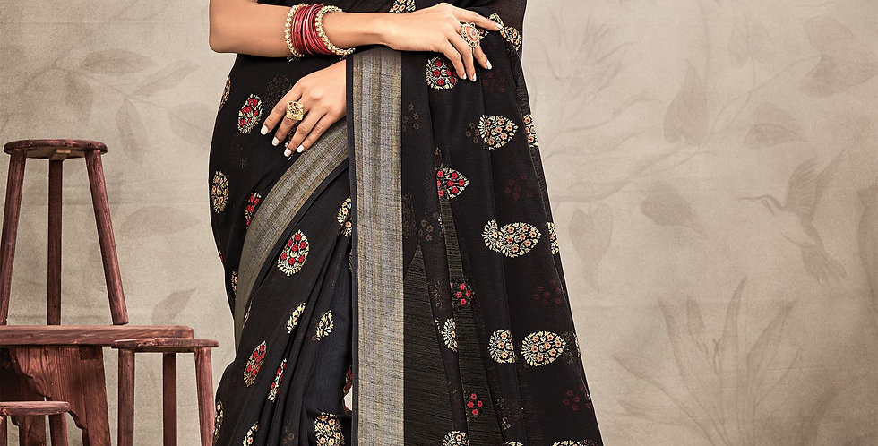 Chanderi Black Color Designer Saree