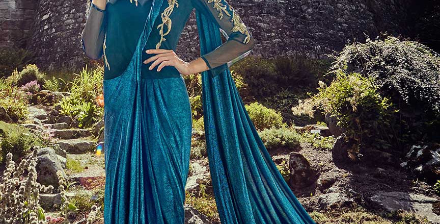 Festive Season Wearing This Designer Blue Color Readymade Gown Saree