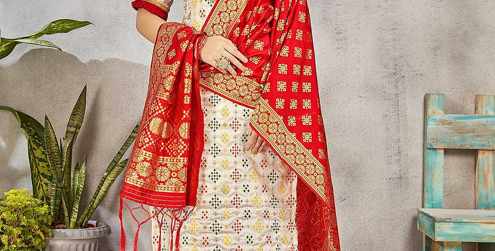 Festive Season Wearing this Designer Off-White and Red Color Straight Suit