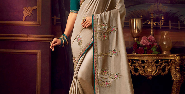 Beautiful Designer Saree In Teal Green Color Paired With Yellow Colored Blouse