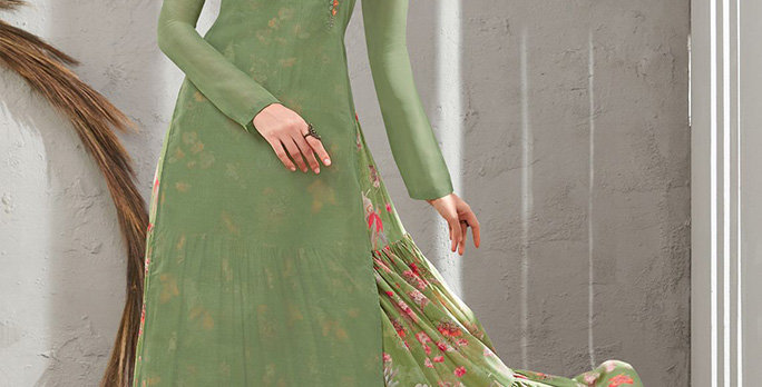 Festive Season Wearing This Designer Olive Green Color Readymade Gown Two Layer