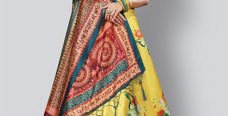Pretty  Digital Printed Yellow & Green  Colored Designer Lehenga Choli Set