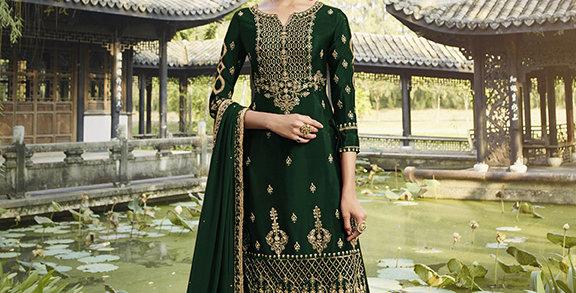 Pretty Designer Dark Green Color Straight Salwar Suit
