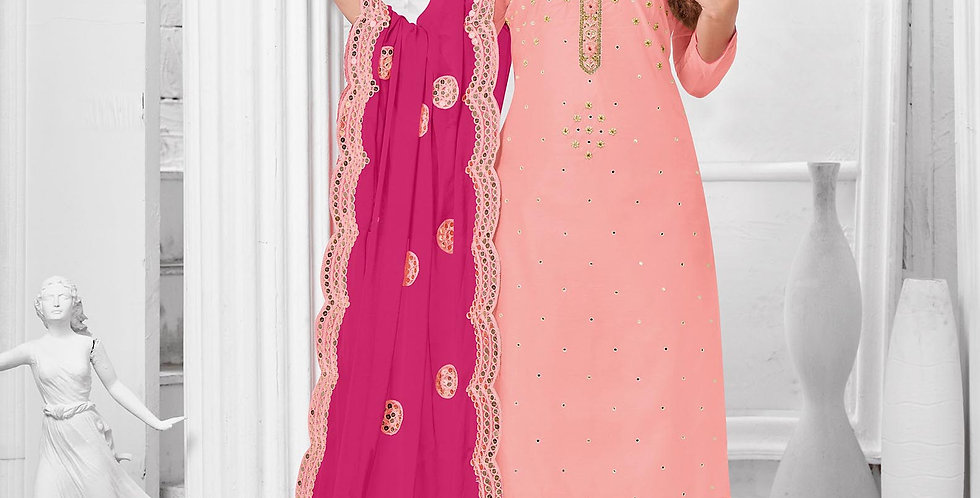 Here Is A Pretty Designer  Baby Pink Color Straight Salwar Suit