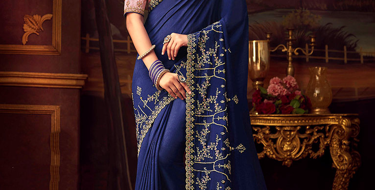 Beautiful Designer Saree In Navy Blue Color Paired With Baby Pink Colored Blouse