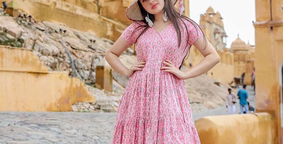 Designer Partywear Printed Pink Pure Maslin Gown