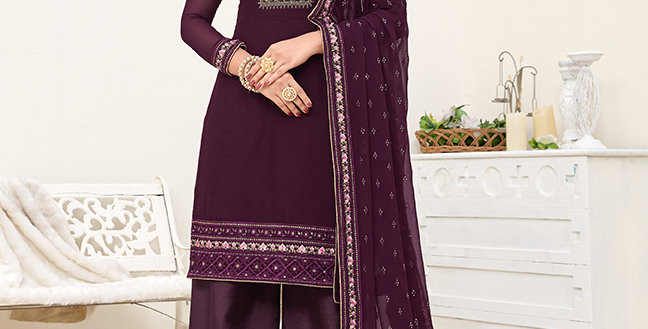 Pretty Designer Purple Color Straight Salwar Suit