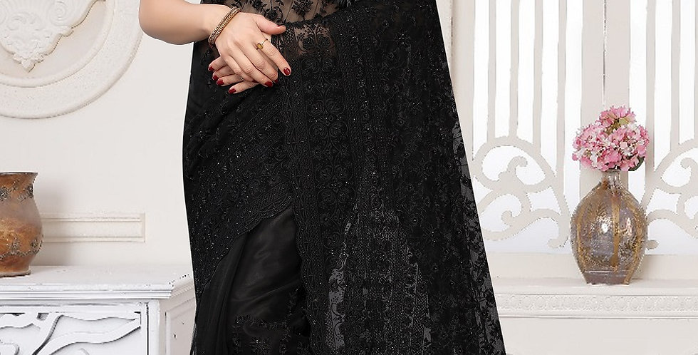 Black Heavy Resham Embroidery Work with Heavy Blouse