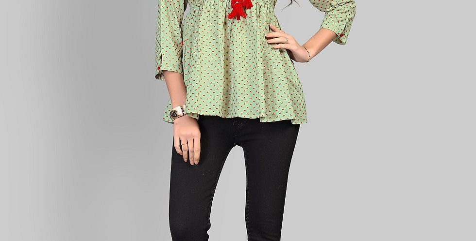 Readymade Kurtis (Fancy Top) InLight Green Color