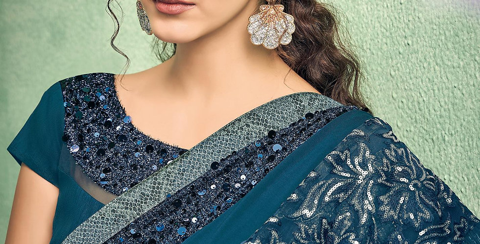 Uniqe Style Teal Blue Color Art Silk Saree with Fabric Lycra