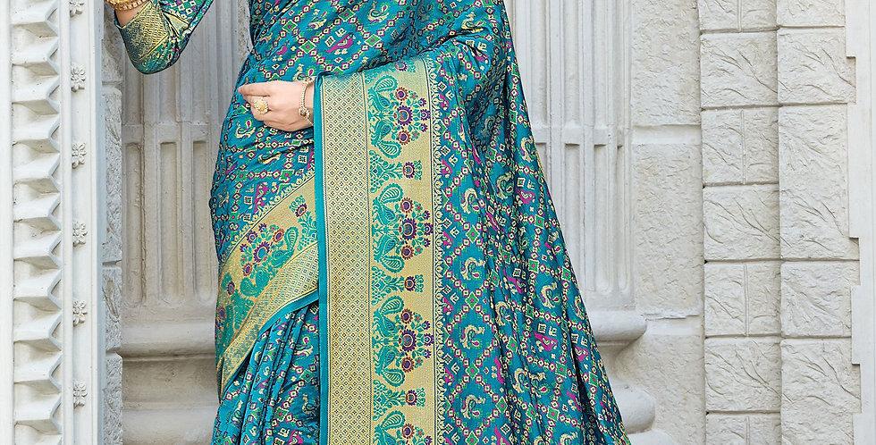 Sea Green Color Patola Silk Sarees for Occasion