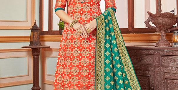 Elegant Looking Silk Based Orange Color Straight Salwar Suit