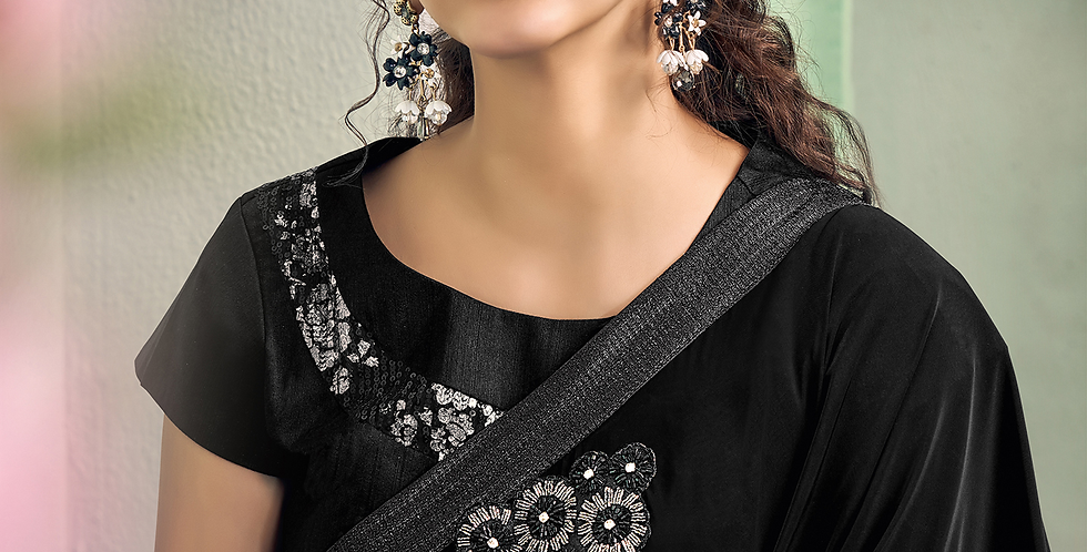 Uniqe Style Black Color Art Silk Saree with Fabric Lycra