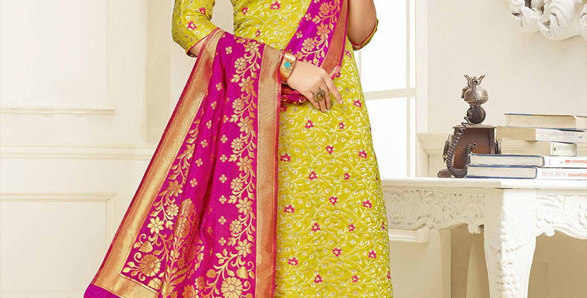 Hera is A  Pretty Designer Pear Green and Rani Pink  Color  Straight Salwar Suit