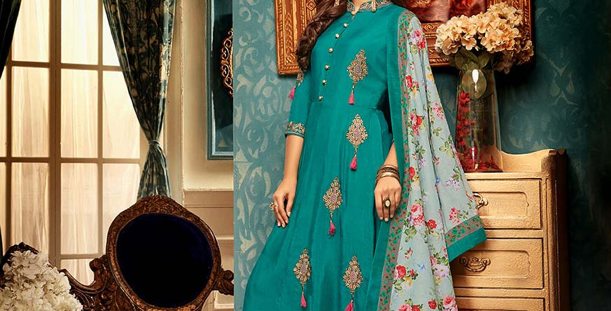 Festive Season Wearing This Designer  Teal Blue Color Readymade Gown