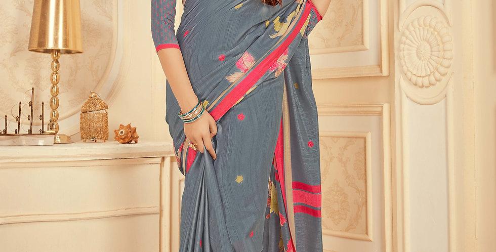 Grey Color Satin Silk Saree and Printed Work