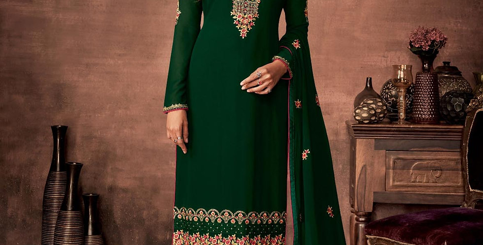 PartyWear Is A Very Pretty Designer Dark Green Color Straight Suit