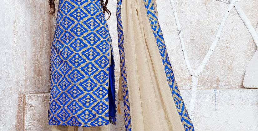 Hera is A  Pretty Designer Royal Blue and Cream Color  Straight Salwar Suit