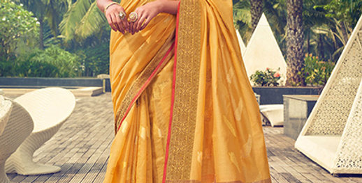A Pretty Traditional Look  Mustard Yellow Color Paired With Orange Color blouse