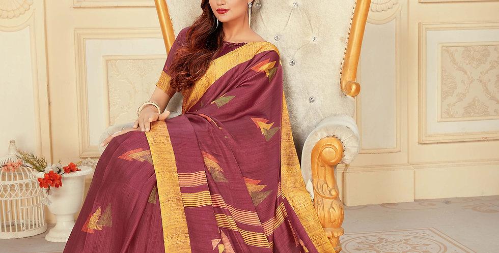 Maroon Color Satin Silk Saree and Printed Work