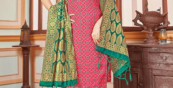 Elegant Looking Silk Based Dark Pink Color Straight Salwar Suit