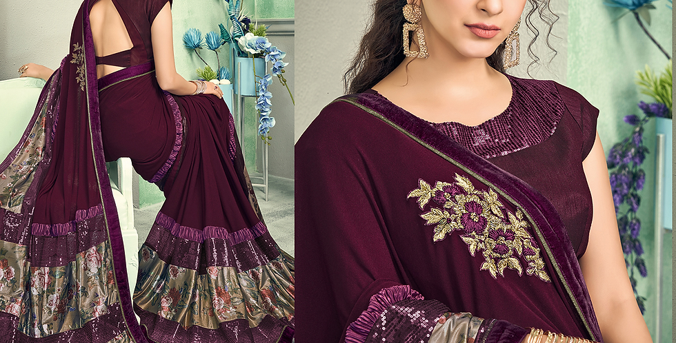Uniqe Style Wine Color Art Silk Saree with Fabric Lycra