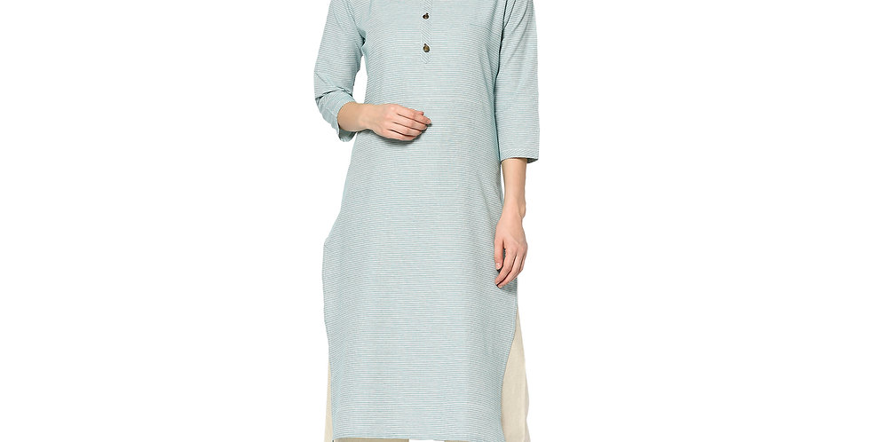 Readymade Straight Kurti In  Sky Blue Color Fabricated On Cotton
