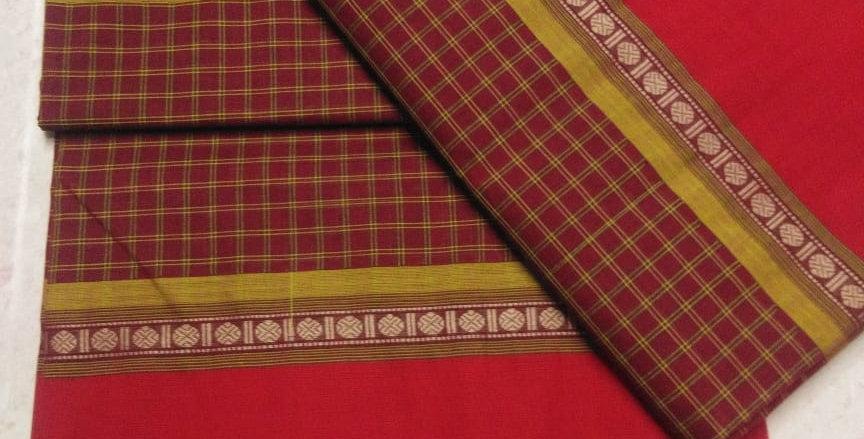 Red Korvai cotton Sarees