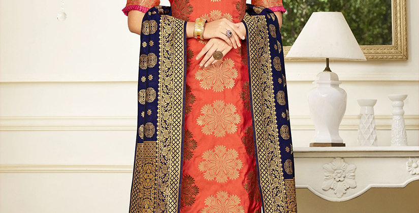 Hera is A  Pretty Designer Orange and Pink Color  Straight Salwar Suit