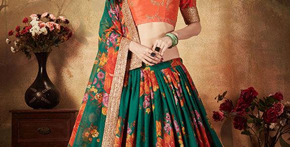 Pretty and Trendy Heavy Designer Orange&Pine Green Color Lehenga Choli Set