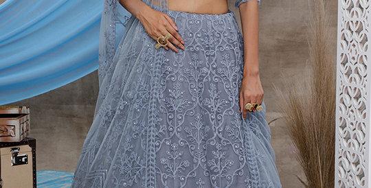 Pretty Heavy Embriodery Grey  Colored  Designer Lehenga Choli Set