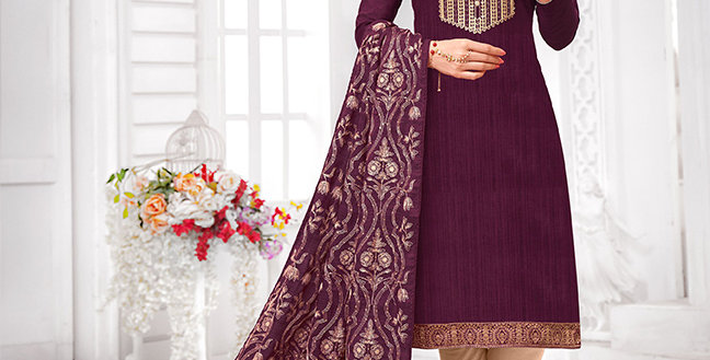 Here Is A Pretty Designer  Wine Color Straight Salwar Suit