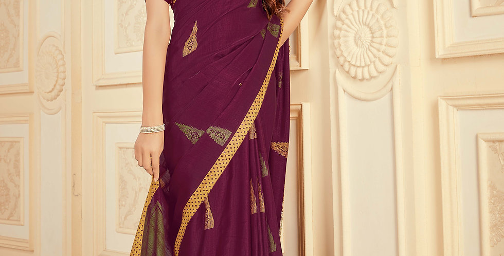 Wine Color Satin Silk Saree and Printed Work