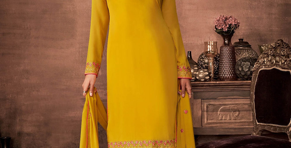PartyWear Is A Very Pretty Designer Yellow Color Straight Suit